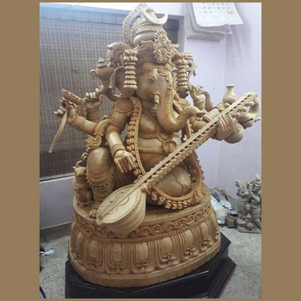 White Wood Ganesha 5 and Half Feet